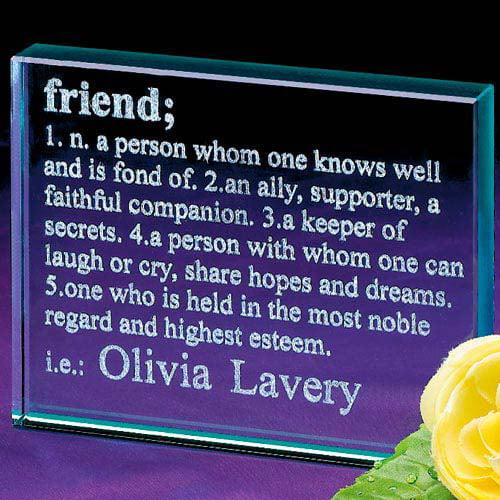 Personalized Friend Definition Glass Block