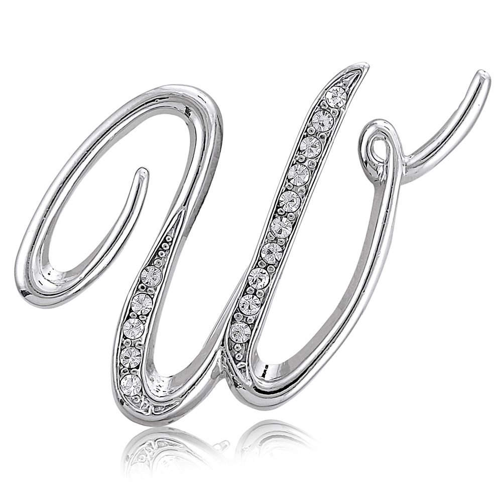 BERRICLE Rhodium Plated Base Metal Initial Letter 'W' Fashion Brooch Pin by BERRICLE