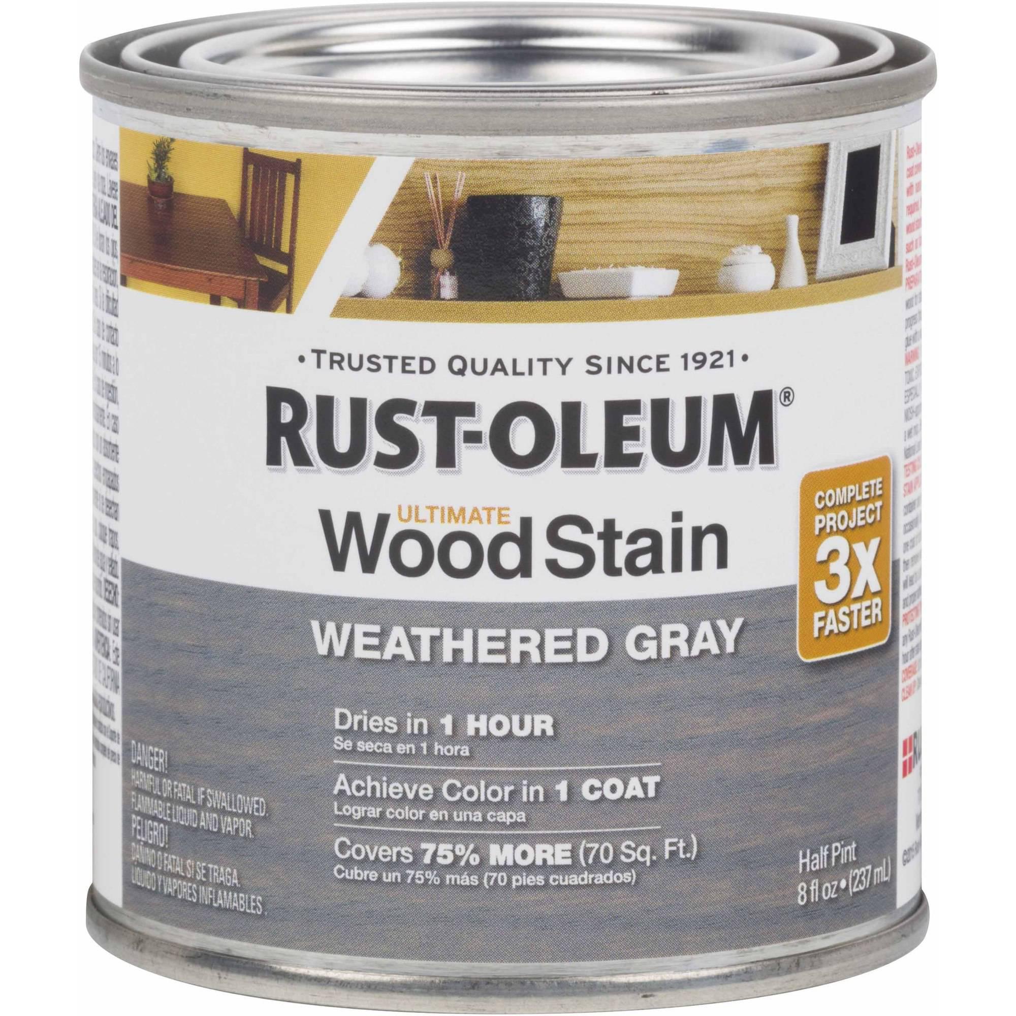 Rust-Oleum Ultimate Wood Stain Half-Pint, Weathered Gray