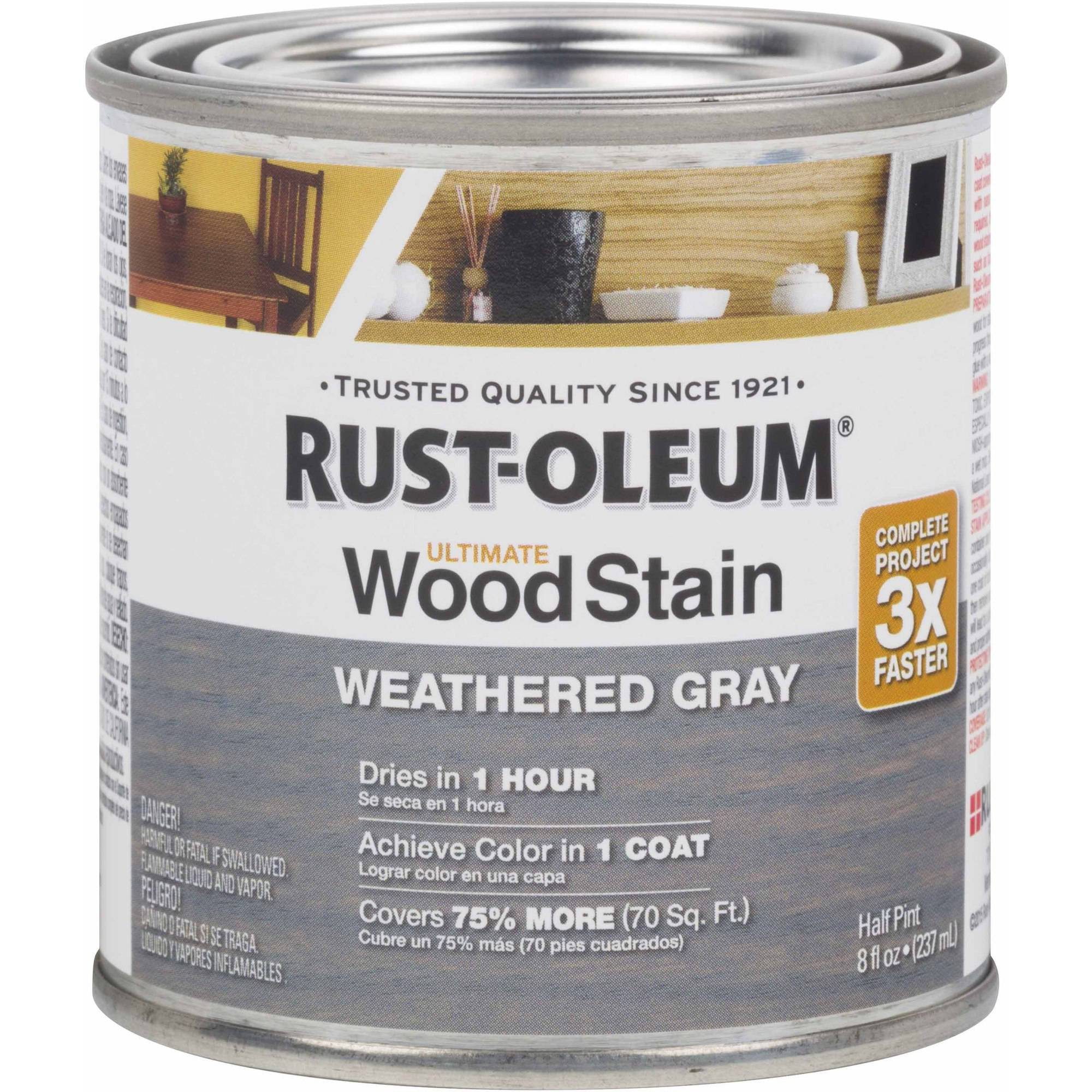 Rust-Oleum Ultimate Wood Stain Half-Pint, Weathered Gray