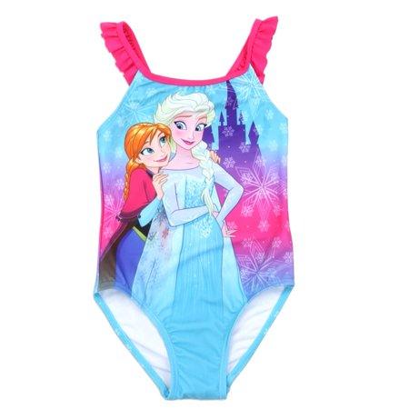 Disney Little Girls Aqua Frozen Anna Elsa Print One Piece Swimsuit (Anna From Frozen As A Little Girl)