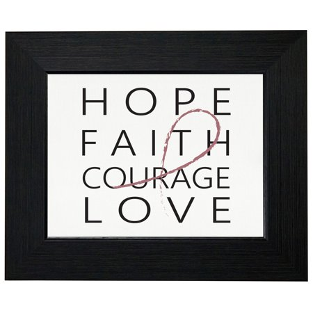 Hope Faith Courage Love Breast Cancer Framed Print Poster Wall or Desk Mount -