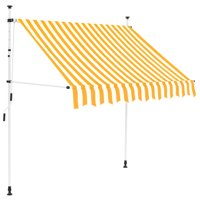 """Manual Retractable Awning 59"""" Yellow and White Stripes"""