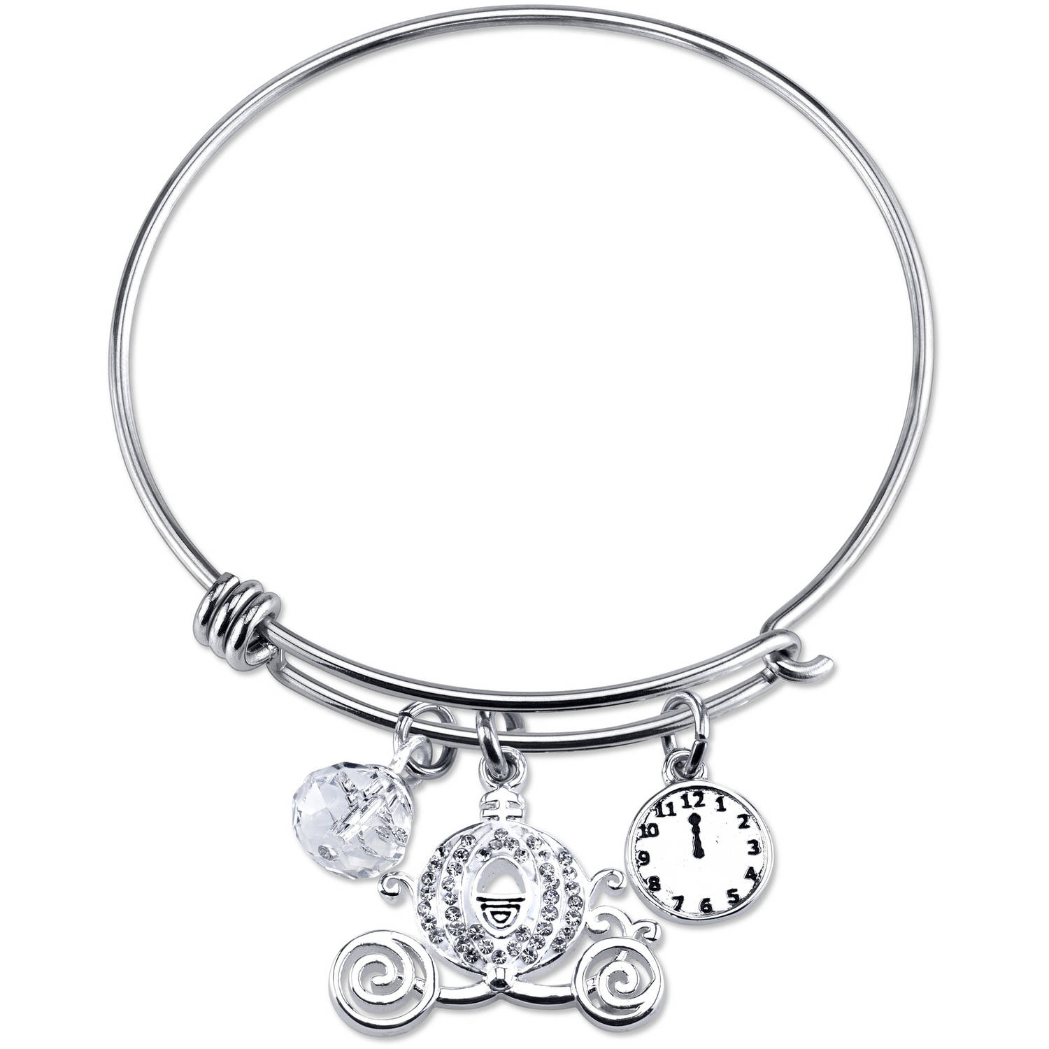 Disney Princess Women's Stainless Steel Crystal Cinderella Carriage with Clock and 8mm Clear Bead Bangle Bracelet