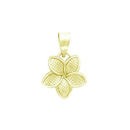 (14K Yellow Gold Plumeria Flower 15mm Necklace Pendant)