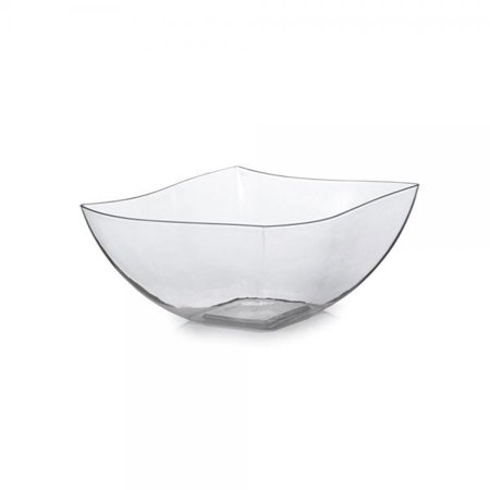 Fineline Settings Wavetrends Clear China-Like Square 8 oz. Serving Bowl 80 Pieces