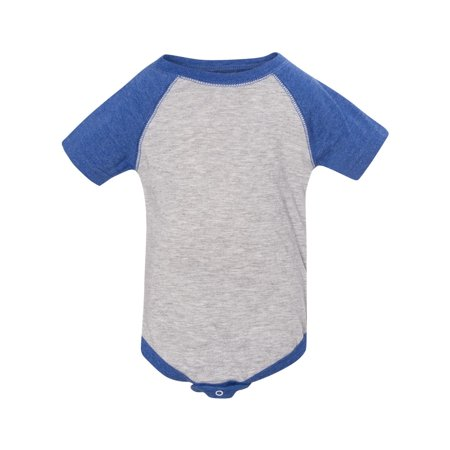 Rabbit Skins 4430 Infant Baseball Bodysuit - Heather/ Royal - 6 (Months Infant Onesie)