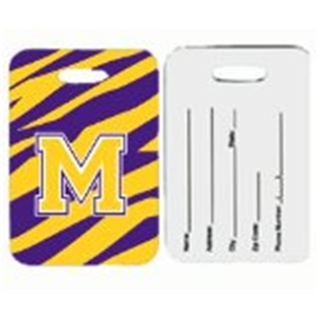 Pair of 2 Tiger Stripe - Purple Gold Letter M Monogram Initial Luggage Tag
