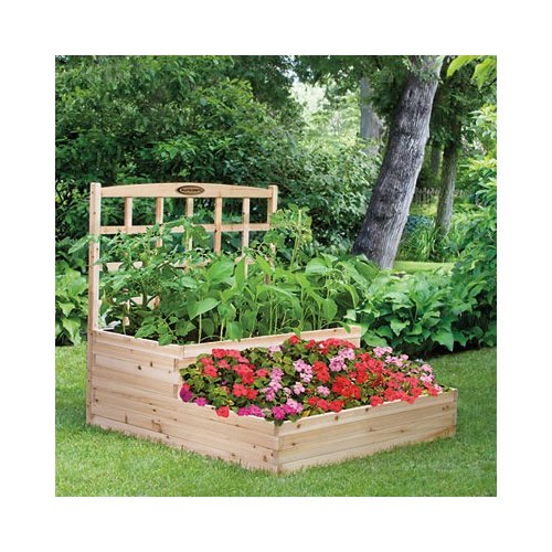 Suncast Cedar Tiered Raised Garden Bed with Trellis
