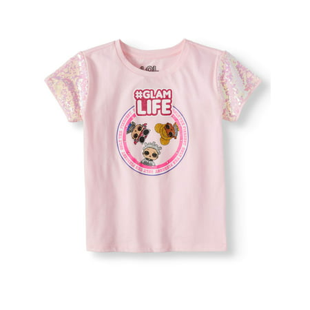 LOL Sequin Sleeve Graphic T-Shirt (Little Girls & Big Girls)