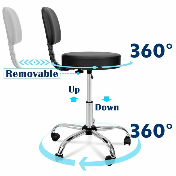 Rolling Adjustable Swivel Drafting Medical Spa Stool Office Desk Chair With Back And Wheels For Home Shop Tattoo Spa Walmart Com Walmart Com