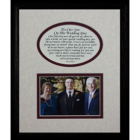 8X10 To Our Son On His Wedding Day Picture & Poetry Photo Gift Frame ~ Cream/Burgundy Mat With Black Frame ~ Great Wedding Day Keepsake Gift For The Groom From His