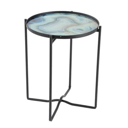 Decmode Contemporary 19 X 16 Inch Blue Smoked Glass and Black Iron Round Accent Table, Light blue ()