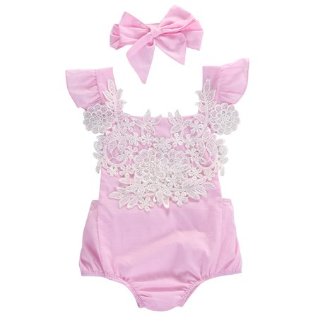 Infant Baby Girl Ruffled Cap Sleeve Floral Lace Romper and Headband (60/0-3 Months) ()