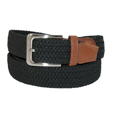 928b0dece708b CTM Men's Big & Tall Elastic Braided Belt with Silver Buckle and Tan Tabs -  image ...