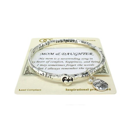 Beautiful Mom & Daughter Inspirational with Themed Charm Silver Tone Bangle - Mother Daughter Charm Bracelets