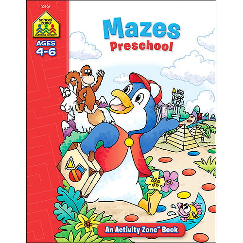 School Zone Activity Workbooks 32 Pages-Mazes Preschool Ages 4-6 by School Zone