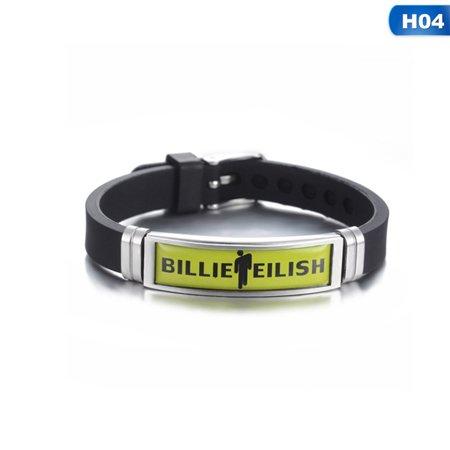 Raypadula Billie Eilish Blohsh Logo Stainless Steel Silicone Charm Bracelets Adjustable Hip Hop Sports Wristbands Fans Gifts Fan Bracelet Wristband