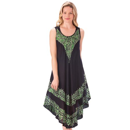 Embroidered Design Easy-Fit Tank Dress with Scoop Neckline - Comfortable Summer