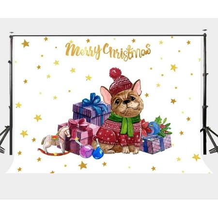 HelloDecor Polyster 7x5ft Cartoon Christmas Theme Backdrop Christmas Gifts Christmas Dog Twinkle Stars Photography Background ()