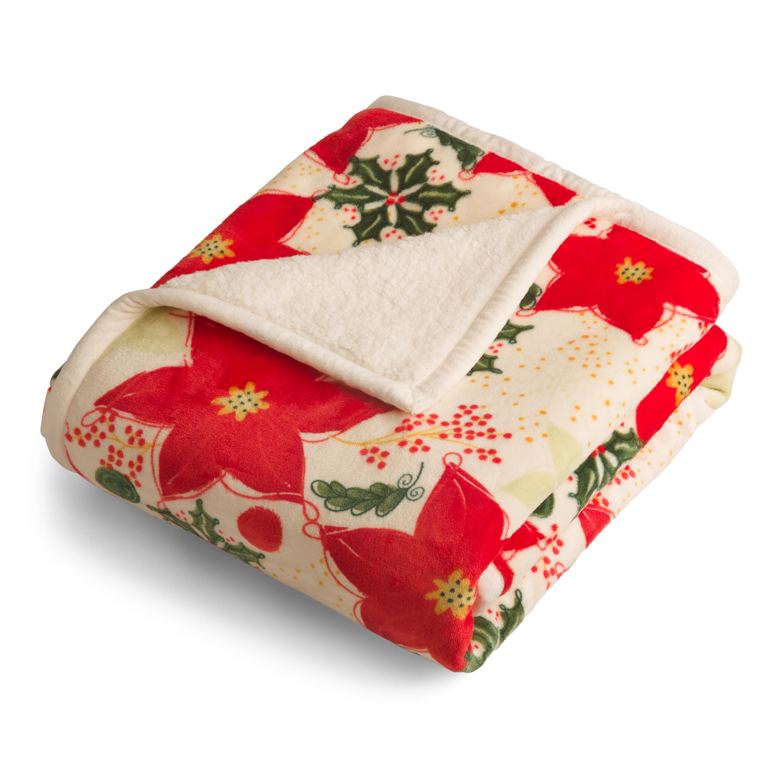 Better Homes & Gardens Velvet Plush to Sherpa Poinsettias Throw Blanket, 1 Each