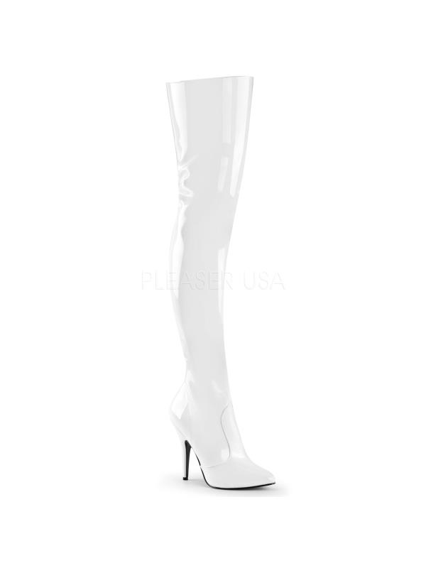 SED3010/W Pleaser Single Soles Thigh High Boots WHITE Size: 6