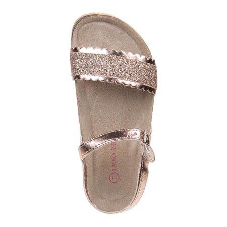 Laura Ashley O-LA81221SROSG3 Glitter Cork Lining Sandals for Toddler Girls, Rose Gold - Size 3