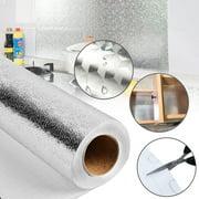 Kitchen Backsplash Sticker, Aluminum Foil Orange Peel Texture Wall Paper, Waterproof Removable DIY Wallpaper, Self-Adhesive Oil-Proof Heat-resist Wall Stickers for Countertop Drawer Liner Shelf Liner