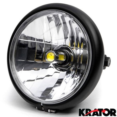 Krator 6  Black Led Motorcycle Headlight W  Side Mounting Running Light High   Low Beam For Yamaha Royal Star Venture Classic Royale Deluxe