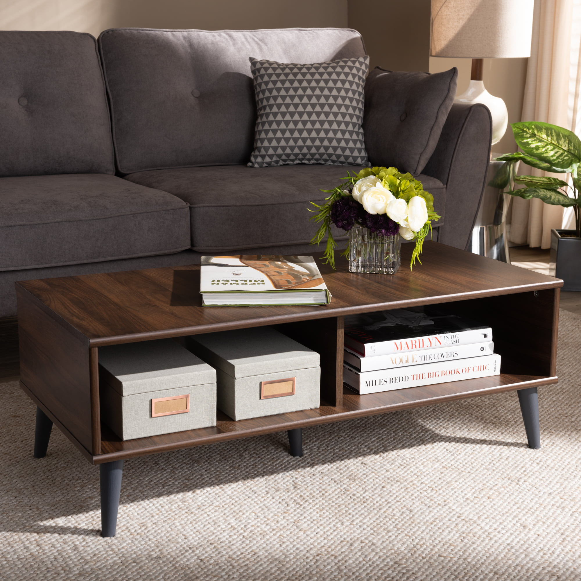 Baxton Studio Pierre Mid Century Modern Brown And Dark Grey Finished Wood Coffee Table Walmart Com Walmart Com