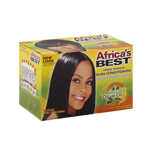 Africa's Best Dual Conditioning Relaxer System, Super, No-Lye 1 ea (Pack of 4)