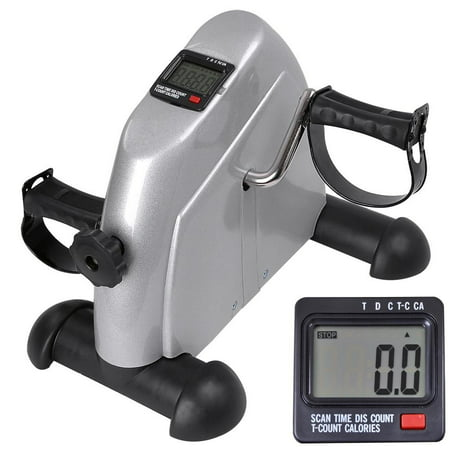 UBesGoo Mini Stationary Exercise Bike, Portable Medical Under Desk Bike, Foot Cycle Arm & Leg Peddler Machine, with LCD Screen Displays, for Seniors Rehabilitation, Women/Men Fitness, Silver