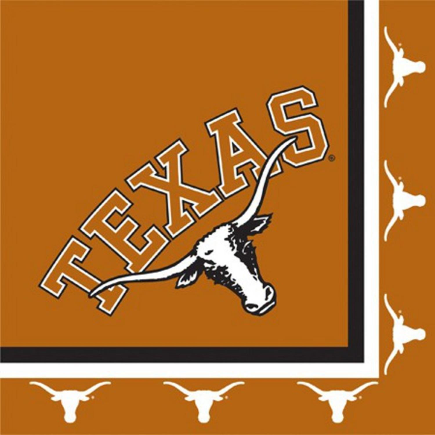 Club Pack of 240 NCAA Texas Longhorns 2-Ply Tailgating Party Lunch Napkins