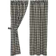 Jet Black Farmhouse Curtains Buffalo Check Rod Pocket Cotton Tie Back(s) Panel Pair
