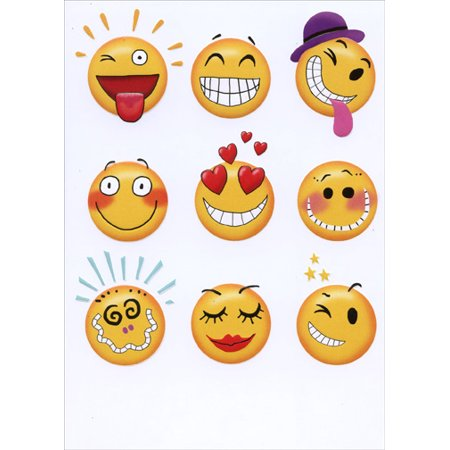 Recycled Paper Greetings 9 Emoticons Funny Birthday Card