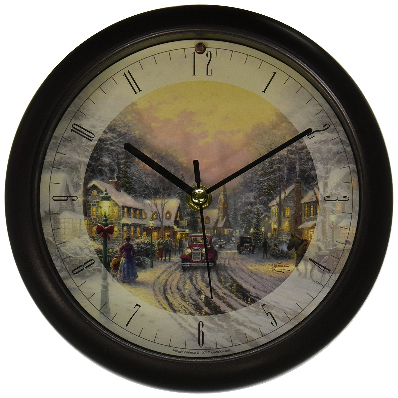 "& Associates Christmas Clock Thomas Kinkade Village, 8"", ..."
