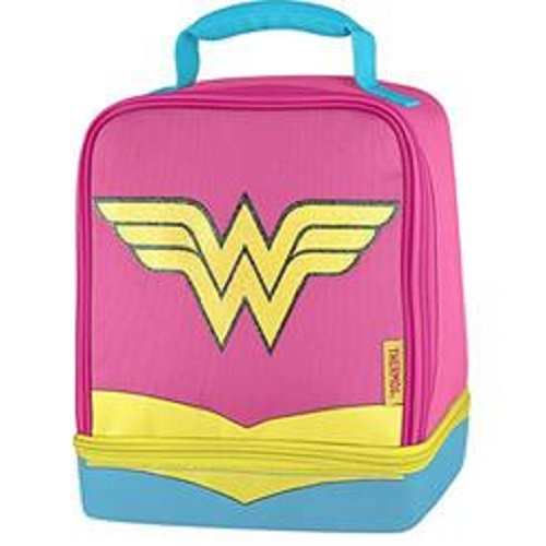 Wonder Woman School Work Lunch Bag Kit Insulated Food Drink Dual Compartment