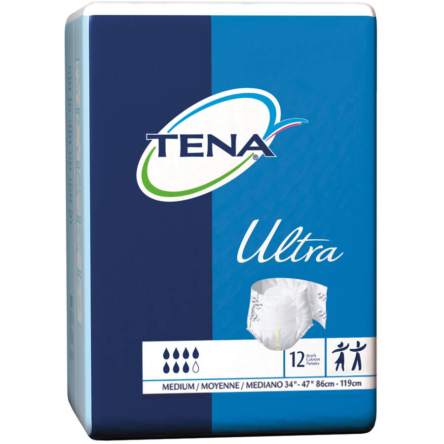 Tena Ultra Tab Closure Disposable Heavy Absorbency Briefs, Medium, 12 count