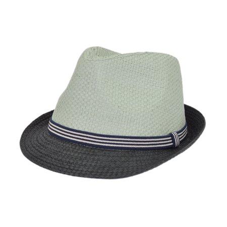 Premium 2 Tone Fedora Straw Hat with Striped Band