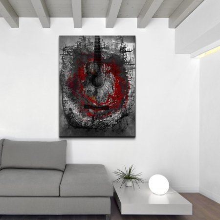 Abstract Guitar Wall - Ready2HangArt  'Acoustic Guitar' Oversized Abstract Canvas Wall Art