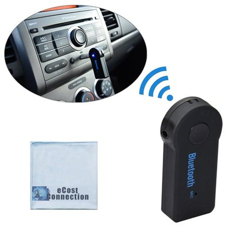 Bluetooth Wireless 3.5mm Audio Receiver with Mic for Cars, Speakers & Many Other Devices + eCostConnection Microfiber