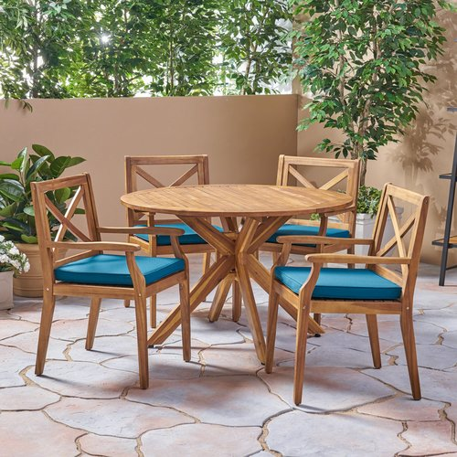 Bungalow Rose Hochstetler Outdoor 5 Piece Dining Set with Cushions