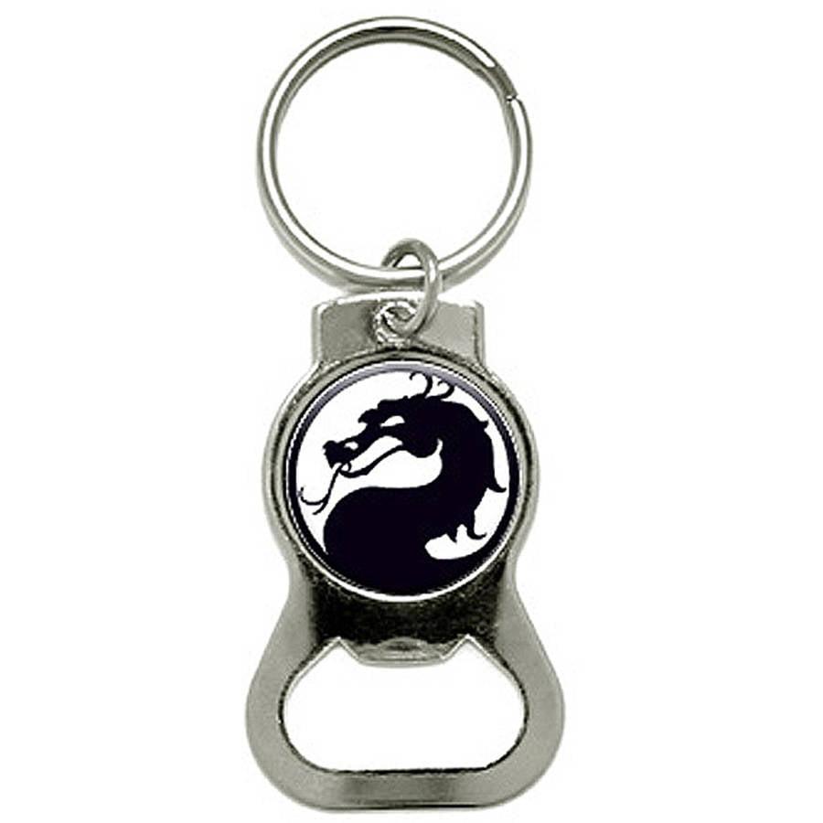 Dragon Black On White Bottle Cap Opener Keychain Ring