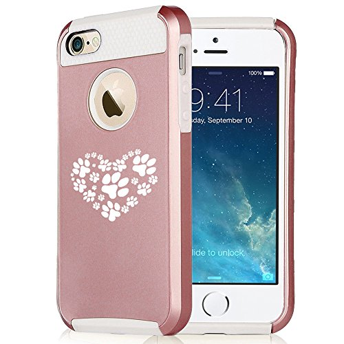 For Apple iPhone SE Rose Gold Shockproof Impact Hard Soft Case Cover Heart Paw Prints (Rose Gold-White)
