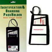 Black Leather Passport ID Boarding Pass Holder Travel Unisex Neck Holder Wallet
