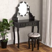 Jaxpety Vanity Makeup Dressing Table Stool Set 360 Rota-table Mirror with 10 Light Bulbs Bedroom Dresser Table W/ 5 Drawers Black