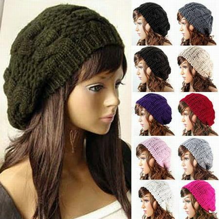 - New Women Lady Winter Warm Knitted Crochet Slouch Baggy Beret Beanie Hat Cap