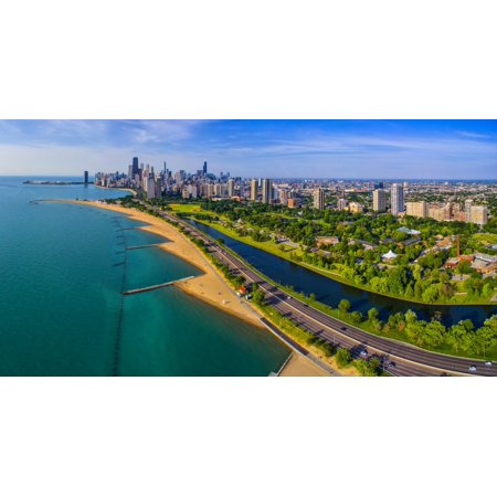 Aerial view of shoreline and Lincoln Park lagoon Chicago Cook County Illinois USA Poster Print by Panoramic Images](Halloween Lincoln Park Chicago)