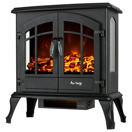 Jasper Free Standing Electric Fireplace Stove by e-Flame USA - Black White Electric Stove