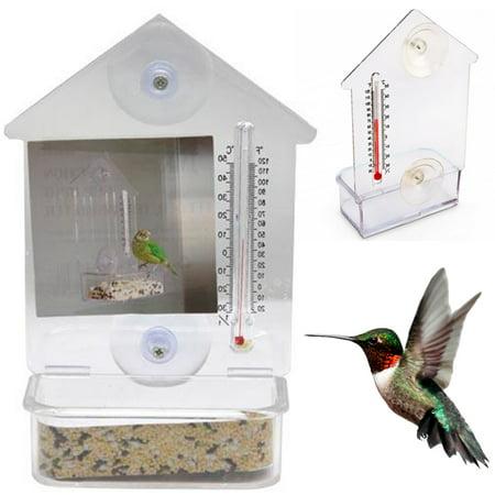 Bird Holder - Bird Feeder Window Suction Cup Mixed Treat Clear Holder Feeeding Dish Hanger 6X4